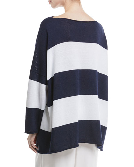 Hand-Loomed Boat-Neck Long-Sleeve Striped Knit Top