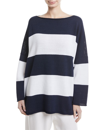 Boat-Neck Long-Sleeve Striped Knit Top