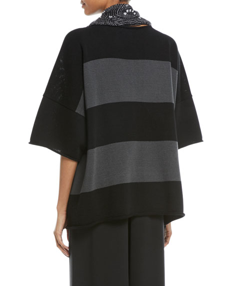 Hand-Loomed Mercerized Cotton Short-Sleeve Colorblock Knit Top