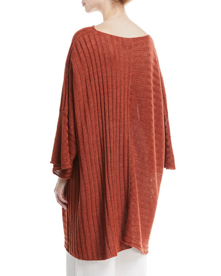 3/4-Sleeve Linen Caftan Top