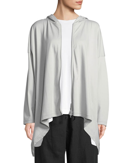Zip-Front Hooded High-Low Pima Cotton Jacket