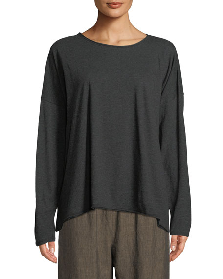 Long-Sleeve Scoop-Neck Pima Cotton Top