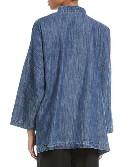Mandarin-Collar Button-Front Denim Jacket