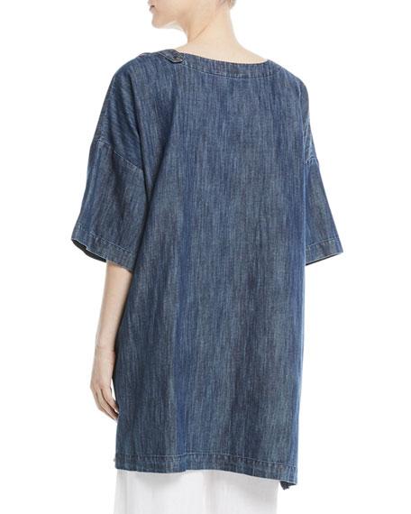 Bateau-Neck High-Low Denim Cotton T-Shirt