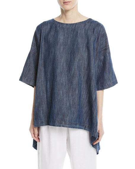Bateau-Neck High-Low Linen T-Shirt