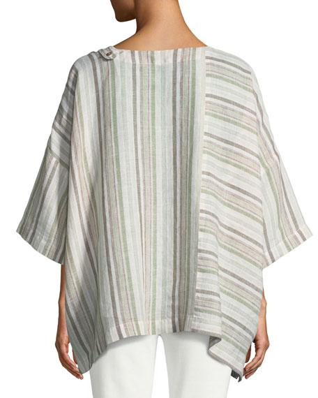 Mixed-Stripe Linen T-Shirt