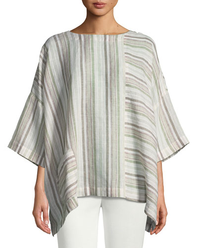 Mixed-Stripe Linen T-Shirt