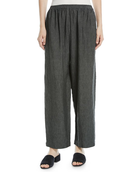 Linen Japanese Trousers with Ankle Side Slits