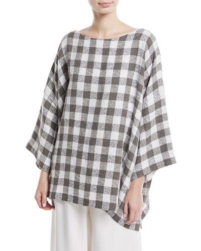 3/4-Sleeve Check Linen-Blend Tunic