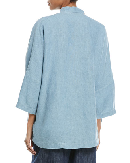 Sloped-Shoulder Mandarin-Collar Linen Jacket