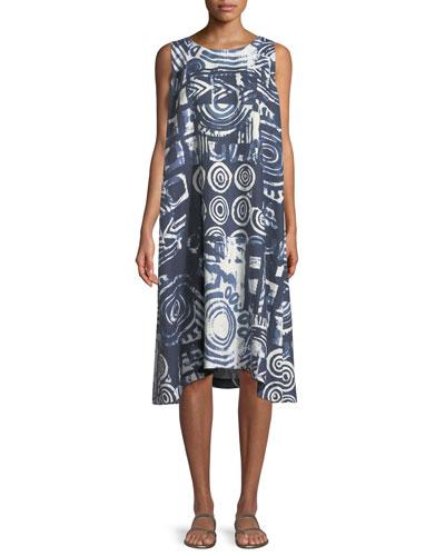 Sleeveless Printed Linen Shift Dress