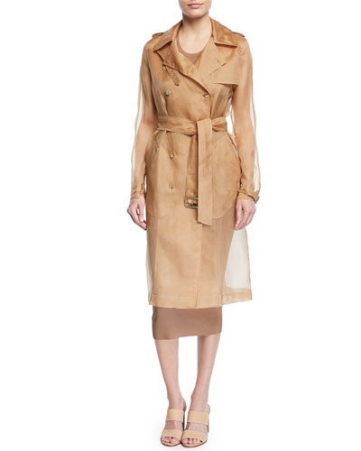 Damiana Double-Breasted Silk Organza Trench Coat