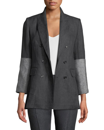 Mentino Double-Breasted Flax Linen Jacket