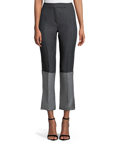 Elba High-Waist Straight-Leg Bicolor Cropped Linen Pants