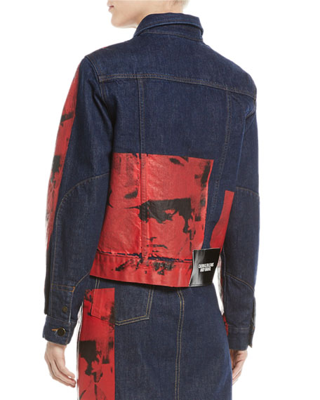 Andy Warhol Digital-Print Button-Front Denim Jacket