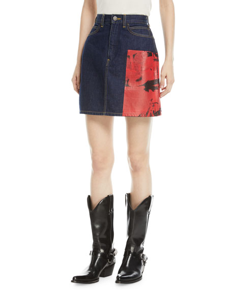 Andy Warhol Digital-Print A-Line Denim Skirt