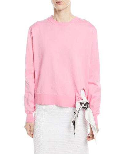 Crewneck Long-Sleeve Sweatshirt w/ Bandana Tie