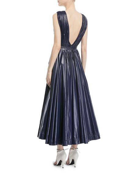 Deep-V Sleeveless Pleated Tent Dress