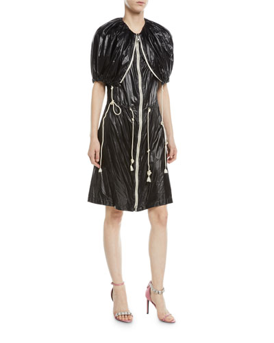 Fold-Over Zip-Front Nylon Dress