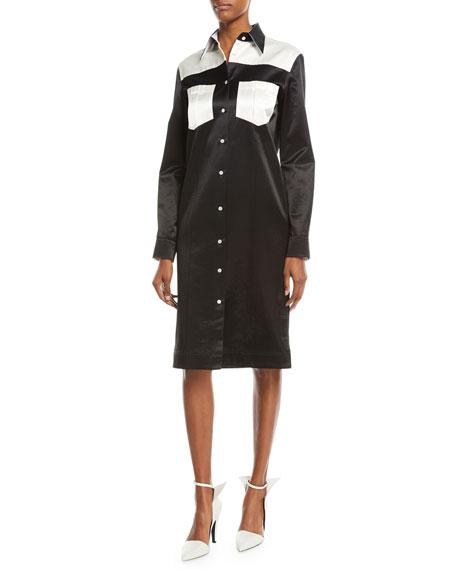 Button-Front Long-Sleeve Satin Western Dress