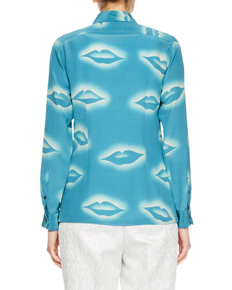 Capios Lip-Print Silk Blouse