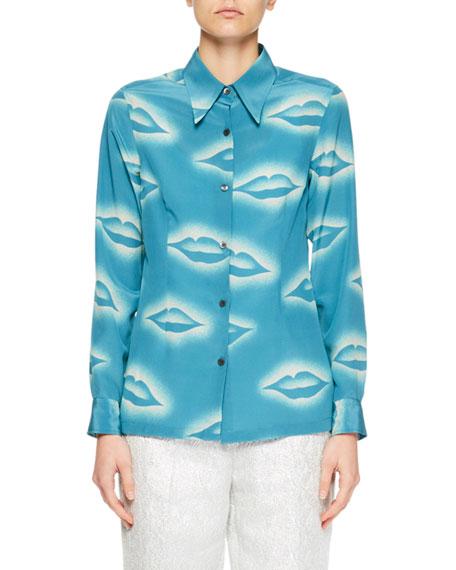 Capios Lip-Print Silk Blouse