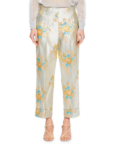 Prope Tapestry Floral Jacquard Straight-Leg Wide-Cuff Pants