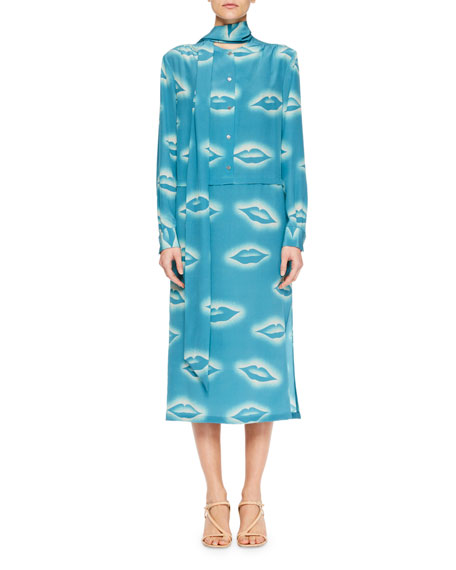 Decussi Lip-Print Scarf-Tie Dress