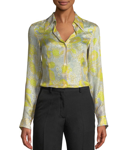 Long-Sleeve Button-Down Floral-Print Metallic Top