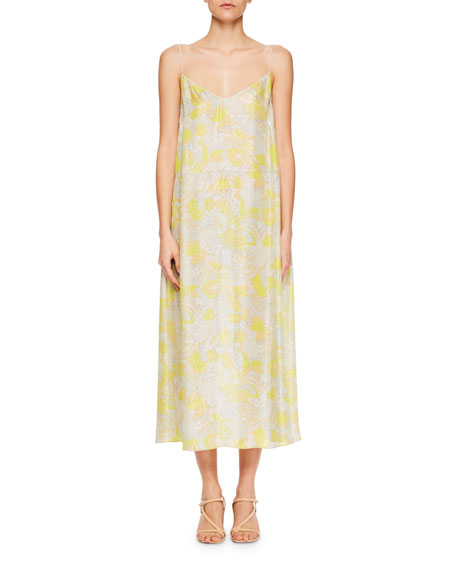 Delax V-Neck Floral-Print Slip Dress with Crystal Straps