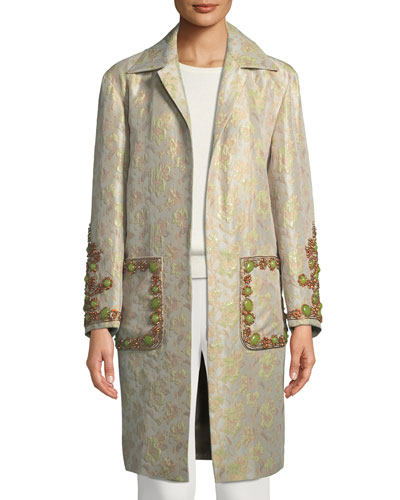 Open-Front Patch-Pockets Tapestry Brocade Coat with Large Stone Jewels