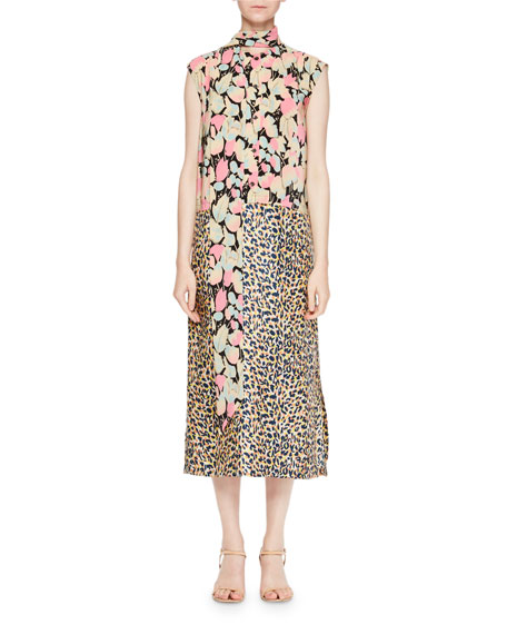 Decussi Mixed-Floral Tie-Neck Dress