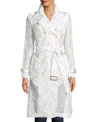 Double-Breasted Belted Floral-Print Silk Trench Coat
