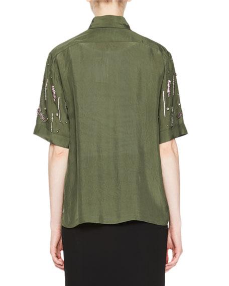 Cakunga Beaded Short-Sleeve Blouse
