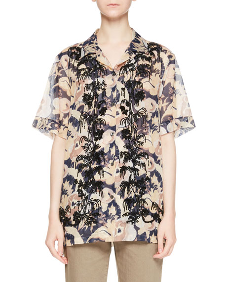 Cliven Embroidered Tropical Short-Sleeve Blouse