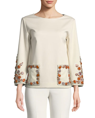 Long-Sleeve Jewel-Embellished Crepe Top