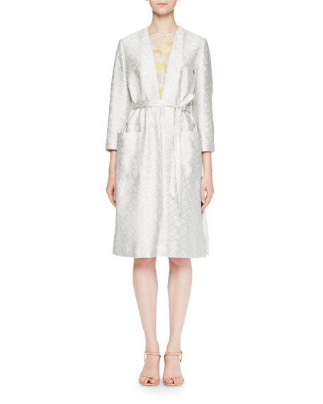 Drone Jacquard Tie-Waist Dress
