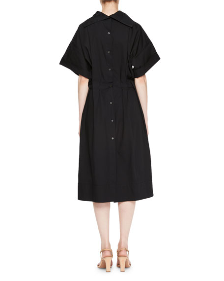Dafia Short-Sleeve Button-Down Back Midi Cotton Dress