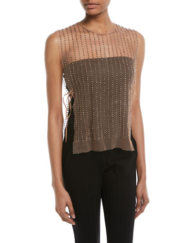 Sleeveless Beaded Mesh Overlay Top