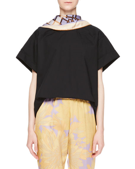 Coxi Foulard Scarf-Neck Top