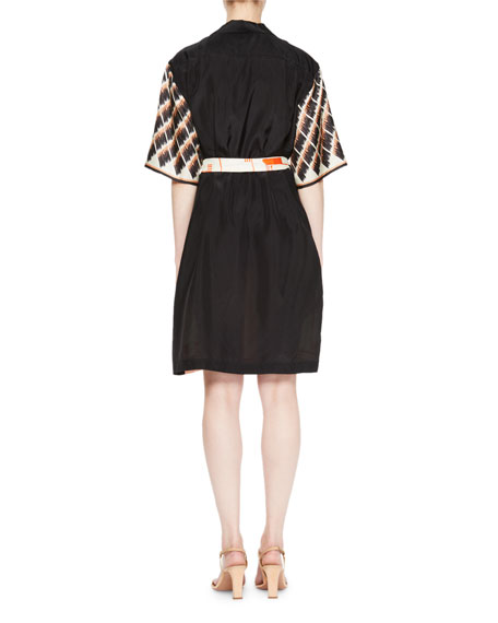 Dopos Geometric-Print Silk Dress