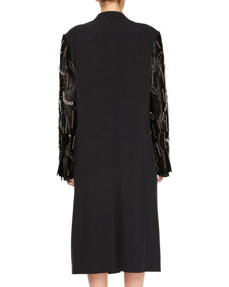 Rinos Embroidered Two-Button Coat w/ Detachable Sleeves