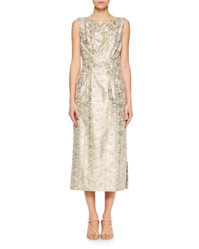 Dipram Metallic Brocade Midi Dress
