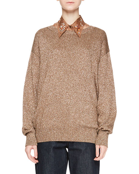 Jantien Metallic Crewneck Sweater