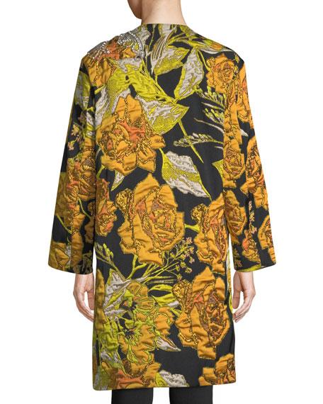 Embellished Floral-Jacquard Button-Front Coat