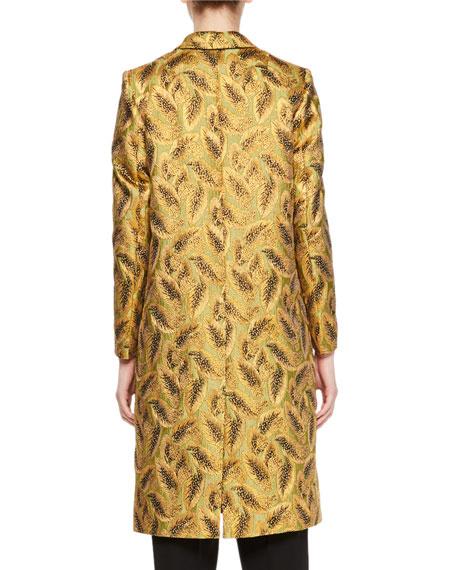 Rick Metallic Leaf Jacquard Coat