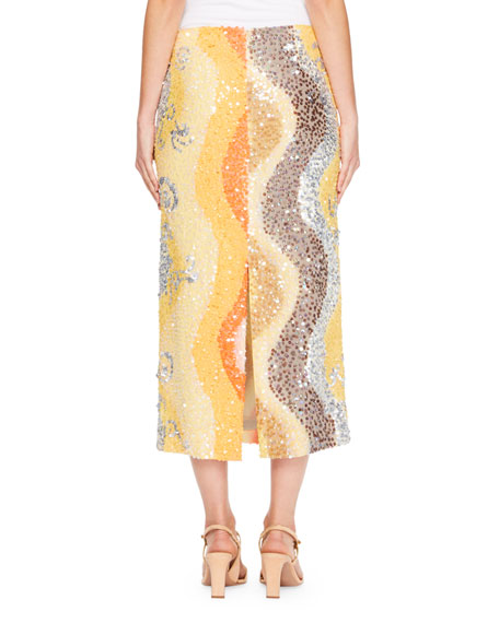 Shine Sequin Wave Midi Skirt