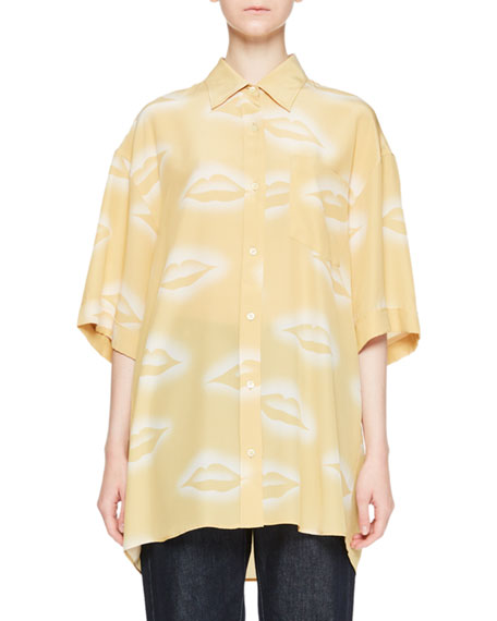Charle Lip-Print Collared Button-Front Silk Blouse