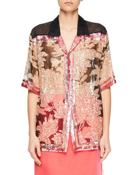 a73e475caac6 Dries Van Noten Cobis Beaded Floral Short-Sleeve Top