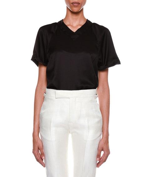 Short-Sleeve V-Neck Silk Top